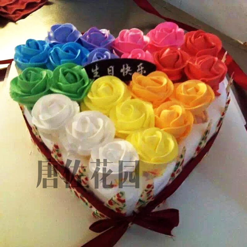 生日蛋糕 鲜花速递 奶油花朵心形蛋糕 水果蛋糕全国市区配送 款式1 1