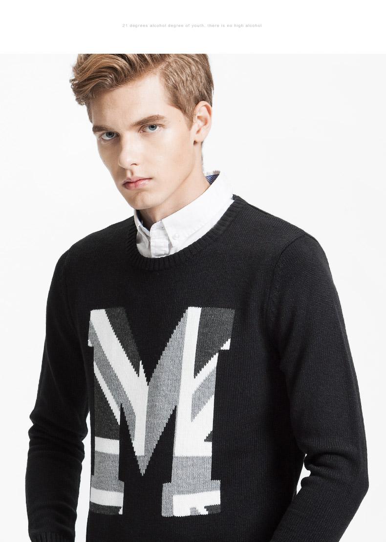 以纯��dh_以纯线上品牌a21 2015秋装新品男装针织衫长袖圆领保暖毛衣男