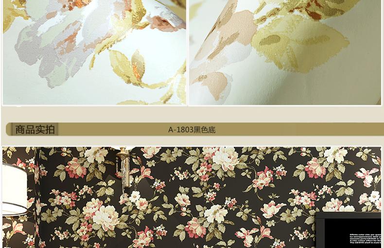 格林威尔 美式复古田园大花墙纸 温馨客厅卧室背景墙壁纸 黑色底图片