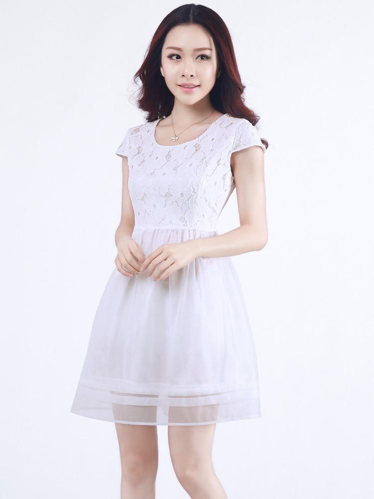 bb妻子的秘密赵丽颖百合 韩国欧根纱蕾丝连衣裙 白色 夏季 明星同款