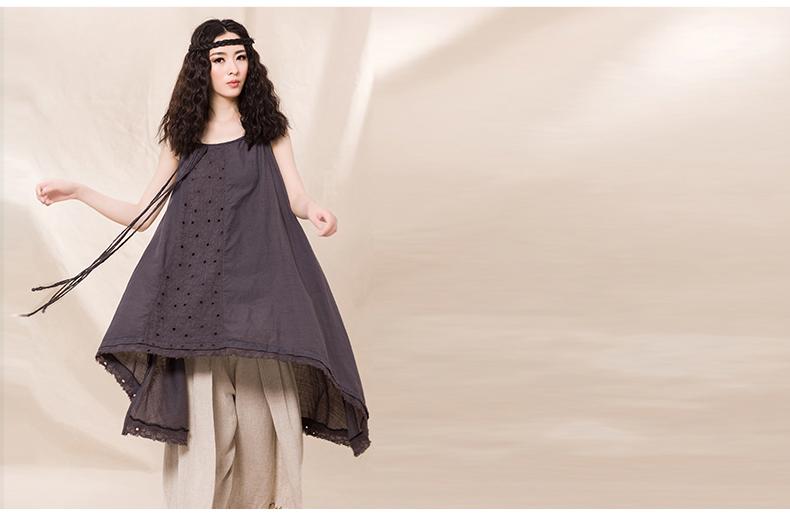 吉丘古儿素颜照原创设计女装棉麻宽松背心吊带不规则