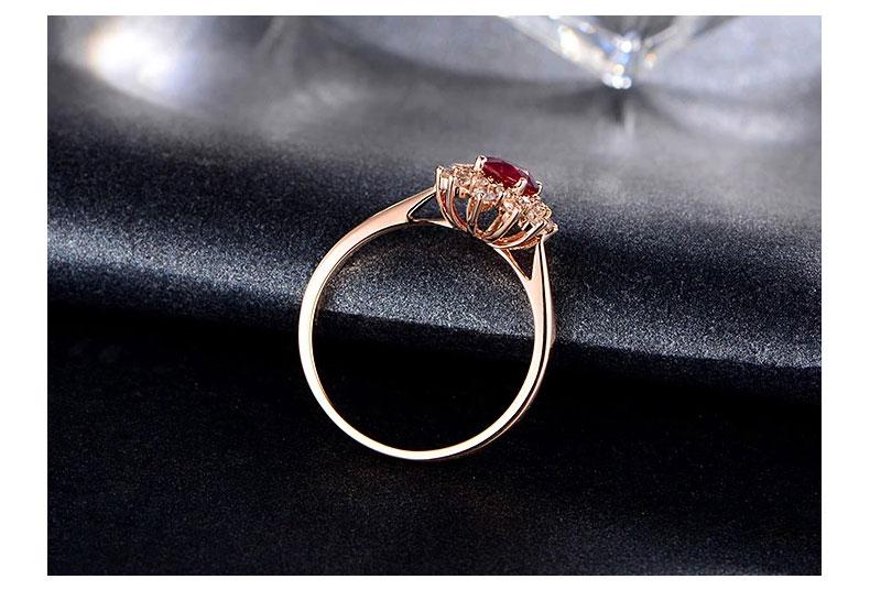 品 牌:   米莱珠宝   名 称:   天然红宝石玫瑰金钻石戒指   米 莱