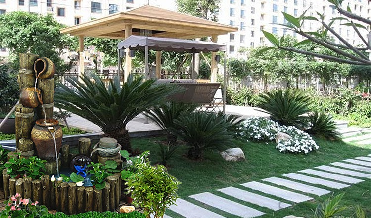 迪胜欧式流水喷泉摆件鱼池招财阳台花园家居饰品创意图片