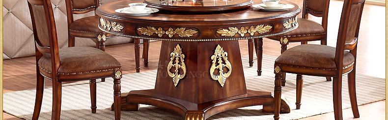 头等仓 餐厅圆桌 实木欧式餐桌 手动转盘 餐台椅组合