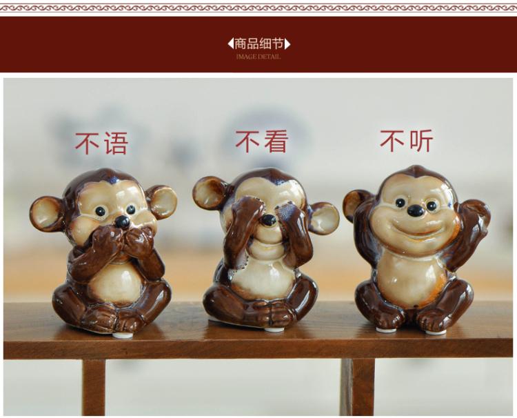 陶瓷三不猴子摆件