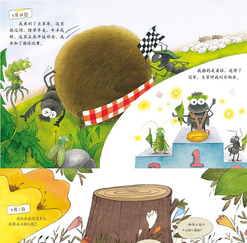 蚂蚁和蝉的故事���#_日记蜻蜓蝉屎壳郎蜗牛蜜蜂蚂蚁蜘蛛的日记平装儿童绘本故事图画书昆