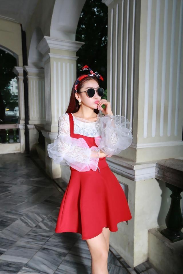 法曼缇2015秋装新款韩版修身甜美可爱吊带裙套套装 红色套装 均码