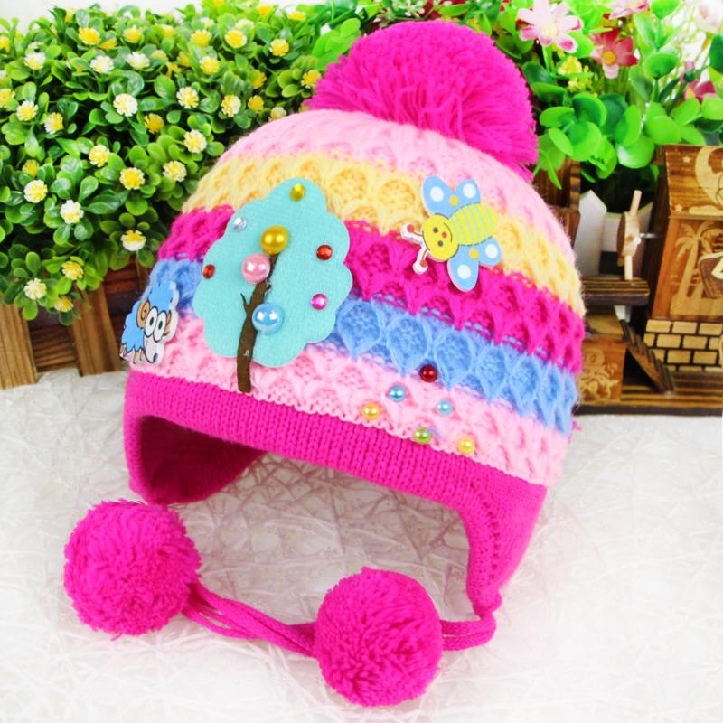 韩版儿童帽子宝宝毛绒帽婴儿毛线帽冬天针织帽童帽男童女童加厚外出