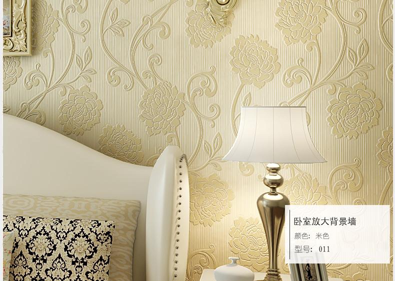 格林威尔 欧式田园大花浮雕壁纸 加厚3d无纺布墙纸 卧室客厅背景墙满图片