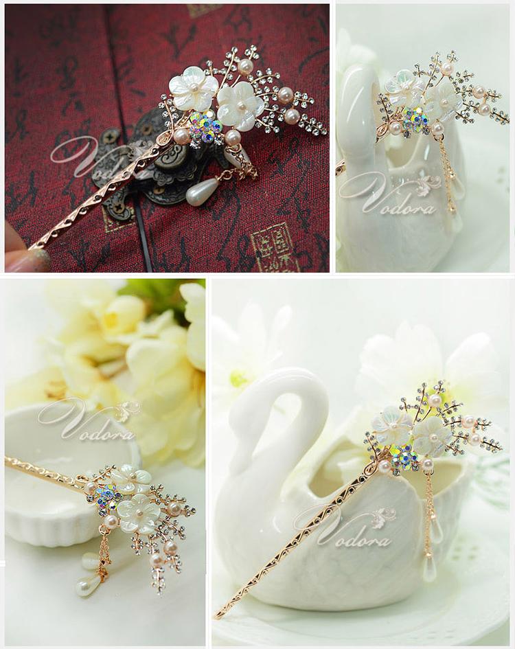 珍珠贝壳水晶满钻流苏发簪盘发饰品