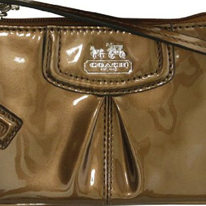 coach gray patent leather handbag  coach madison