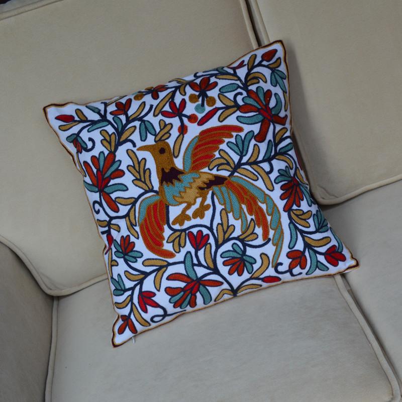 田园欧式美式刺绣奢华靠垫套靠枕抱枕结婚鸟