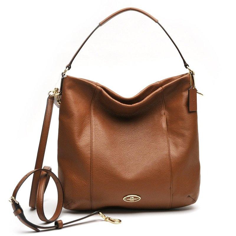 coach shoulder bag outlet  coach saddle brown pebbled