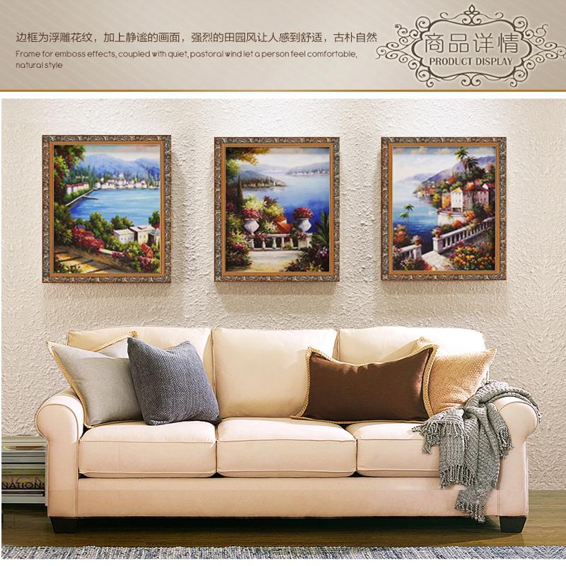 风景油画装饰画地中海纯手绘欧式有框画客厅沙发背景墙美式挂画 白色