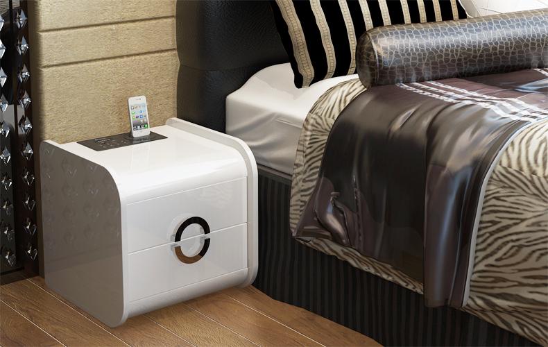 床头柜 欧式简约 田园储物柜 带音响功能简易床边柜 时尚迷你收纳柜 SM-507 白色一个 没功能版