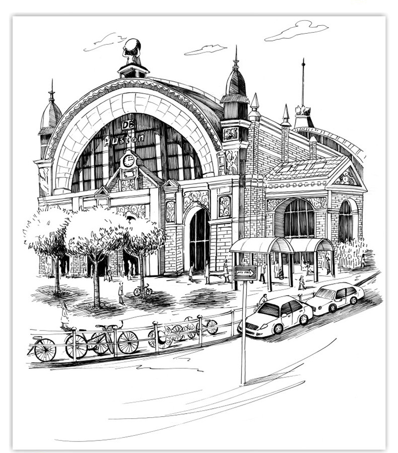 现货正版 黑白绘:钢笔画技法完全自学教程 风景画设计手绘马克笔建筑