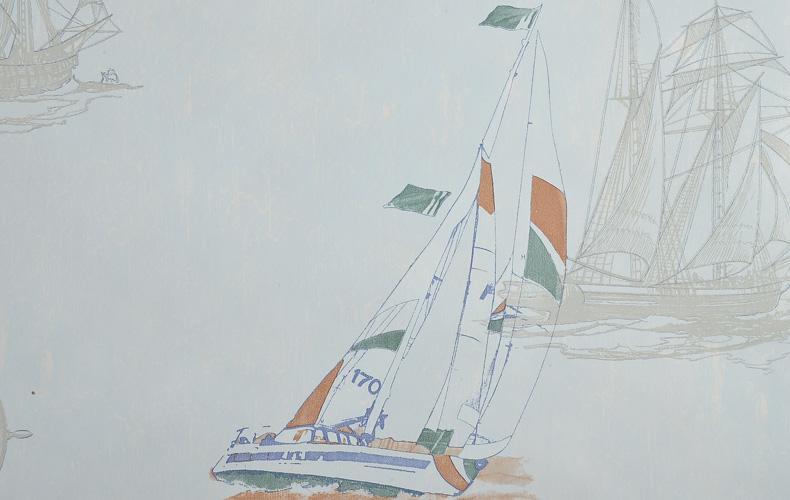 辛格地中海风格壁纸 卡通帆船儿童房男孩卧室条纹墙纸