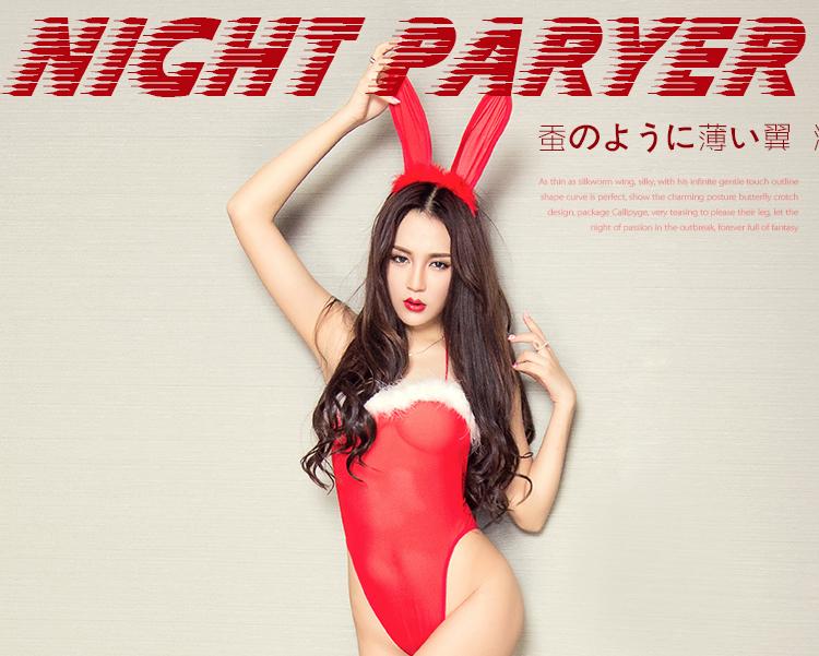 内衣 连裤袜/丝袜 夜愿 夜愿yeyuan性感兔女郎连体睡衣 极度诱惑透明