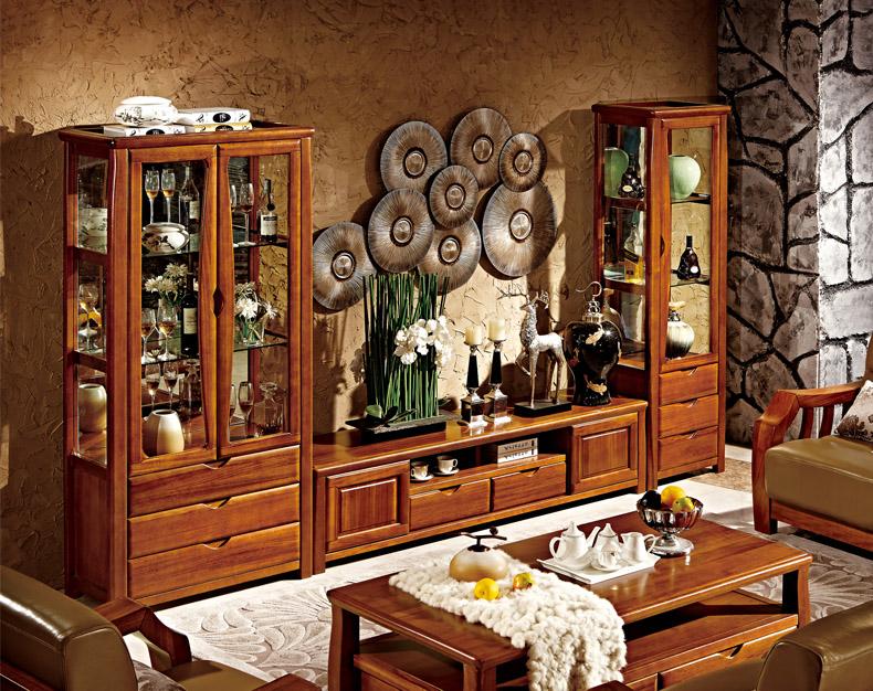 岭林 现代中式楠木实木家具 单门双门酒柜储酒柜装饰柜 0.6米0.