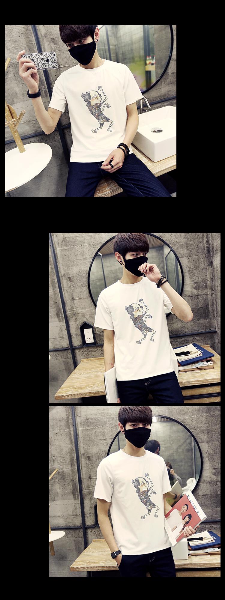 宝芮雅莉t恤2016潮男夏季新款上市时尚印花字母卡通搞笑人物短袖t恤