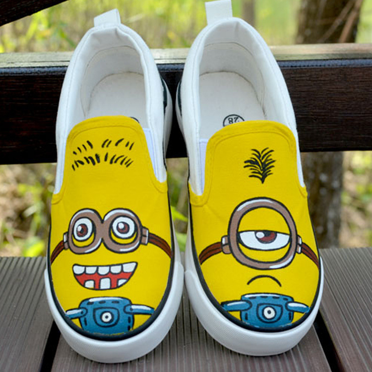2016年新款韩版潮鞋手绘小黄人儿童鞋套脚鞋大中小儿童手绘鞋 白色 32