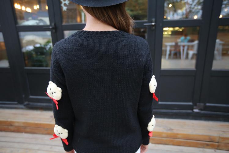 经典蜜雪 2015手工编织小熊贴布娃娃单排扣开衫毛衣 黑色 l