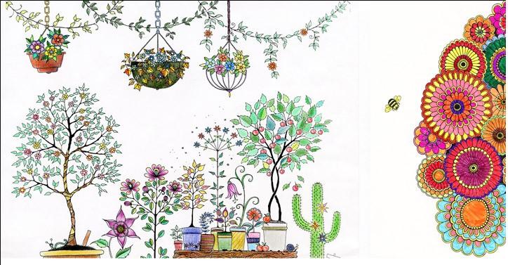 韩国秘密庭院花园减压填色本手绘涂色书线装可平铺封面烫金 韩版秘密