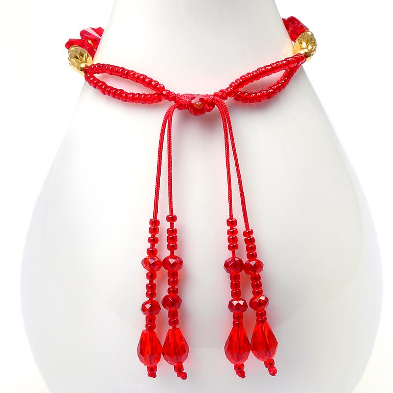 伊生缘999千足金转运珠黄金手链中国风红绳编织宝宝手链 默认尺寸16cm