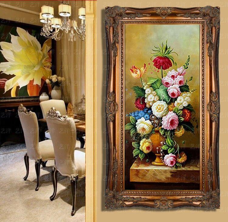 花卉纯手绘油画竖版玄关装饰画简欧式过道壁画客厅挂