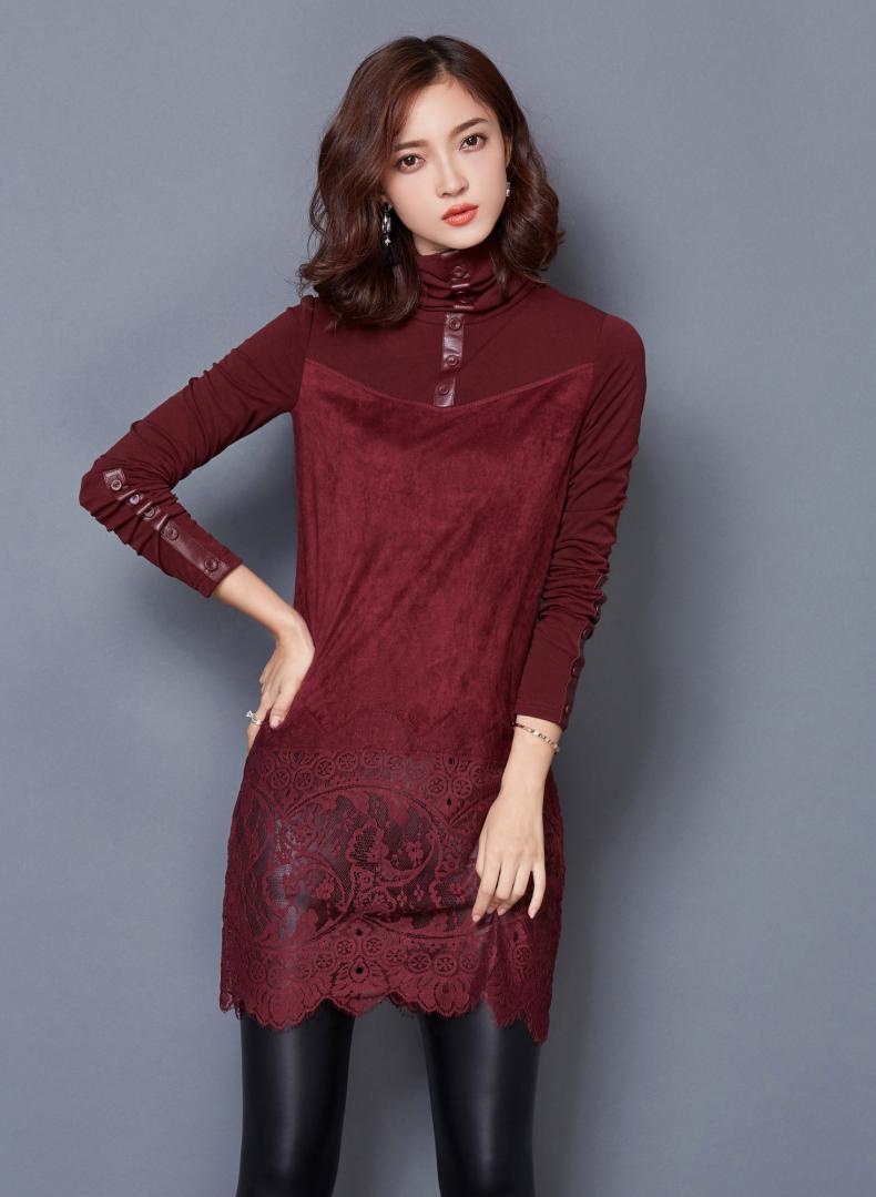 伊恋心 秋冬韩版女装大码长袖加绒加厚蕾丝打底衫中长