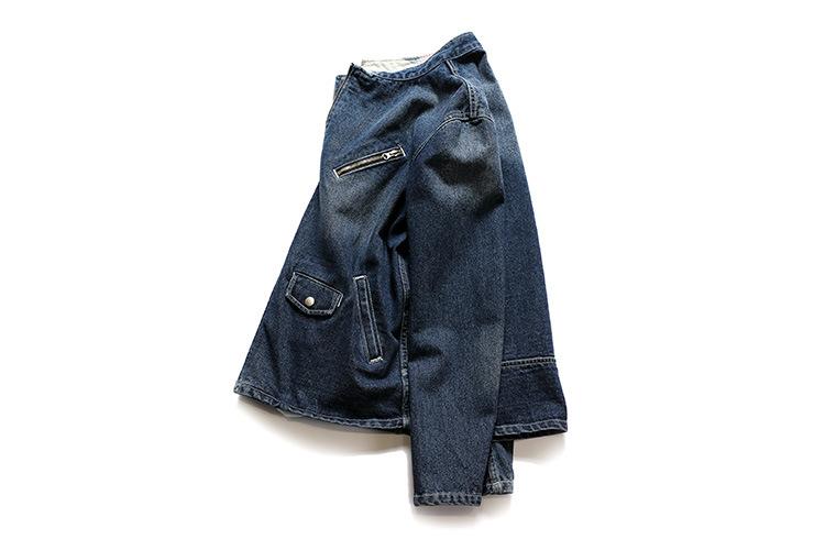 梦幻谦色2016新款经典原创设计 斜拉链高品质牛仔衣 深蓝色 l