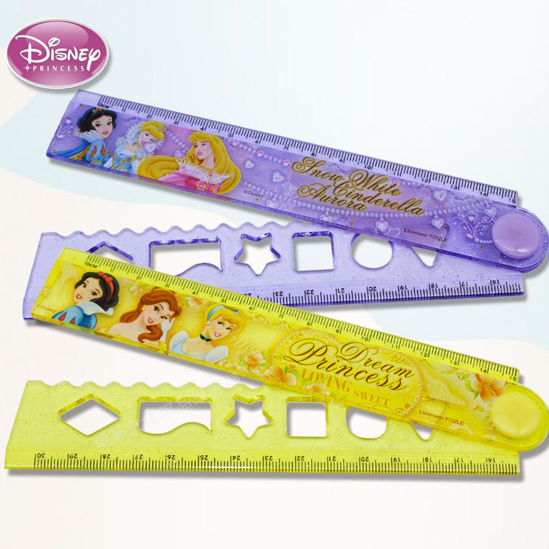 Disney Multifunctional Straightedge Folding Ruler Elementary School Ruler Stationery Princess Frozen Mickey Minnie Princess Folding Ruler Color Pattern Random