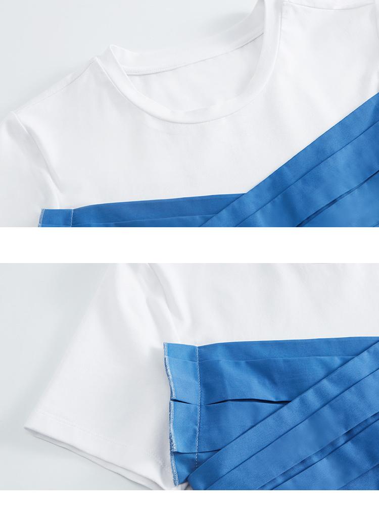 糖力2018夏季新款撞色时尚设计感拼接叠褶短袖t恤女圆领体恤上衣 白色