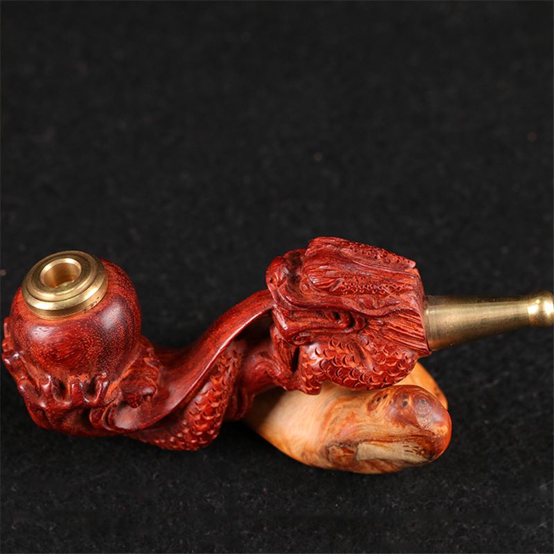 工艺品 木雕 小叶紫檀 手工雕刻 龙吐珠烟嘴