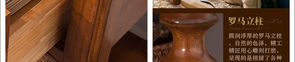 缔卓 欧式单门床头柜 纯实木美式床边柜胡桃木雕花圆柱储物柜 美式图片