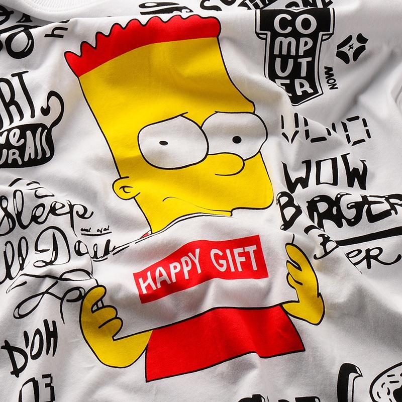 引领者 香港潮牌辛普森一家卡通人物青少年春装打底衫