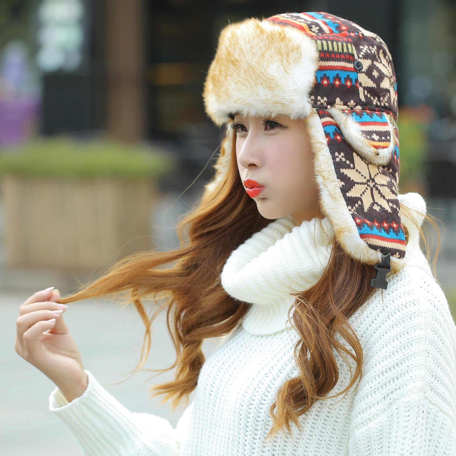 厚实亲子款雷锋帽儿童宝宝帽子 冬季帽子 彩色针织护耳帽 儿童红色