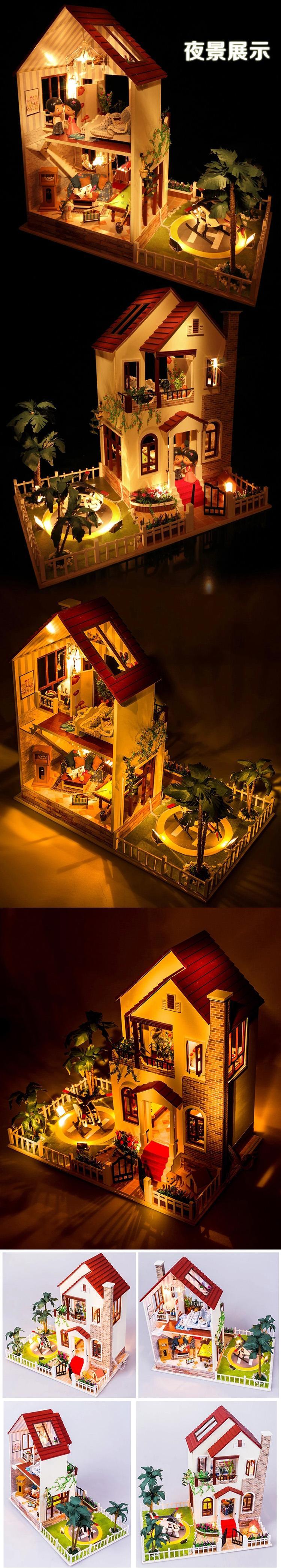 diy小屋手工制作别墅房子男生创意礼物房屋拼装模型儿童玩具女生 冲上