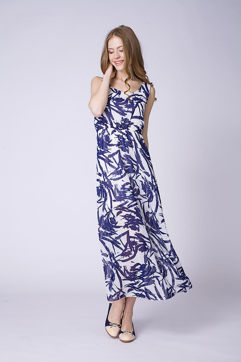 蓝雨蝶依*沙滩裙波西米亚无袖雪纺连衣裙夏背心长裙子图片