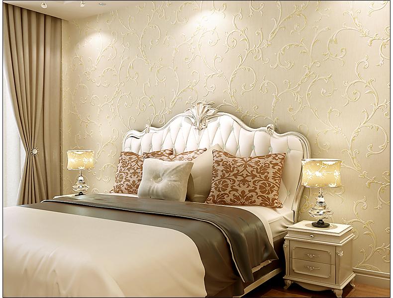 洛可可壁纸 卧室温馨 欧式无纺布客厅沙发电视背景墙纸 203-米白底图片