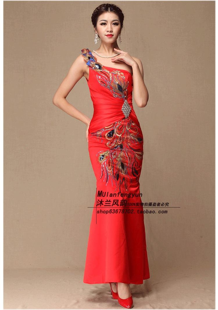 厂家直销高端中式新娘装秋款大红色礼服敬酒服明星款款旗袍唐装 红色图片