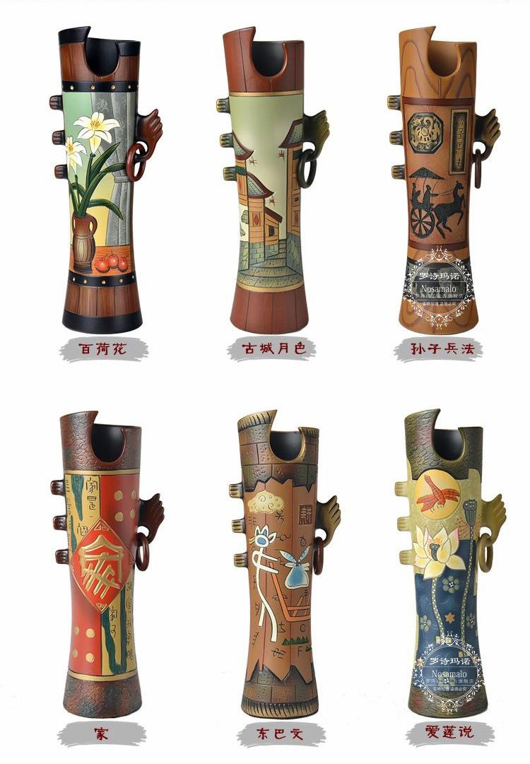 罗诗玛诺高档景德镇创意粗陶陶瓷手绘花瓶摆件别墅干