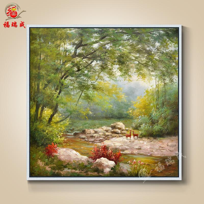大芬油画手绘欧式简约古典花卉风景人物有框卧室客厅