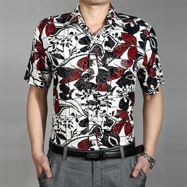 艾罗莱中年纯棉商务休闲男士古风花纹短袖t恤翻领宽松