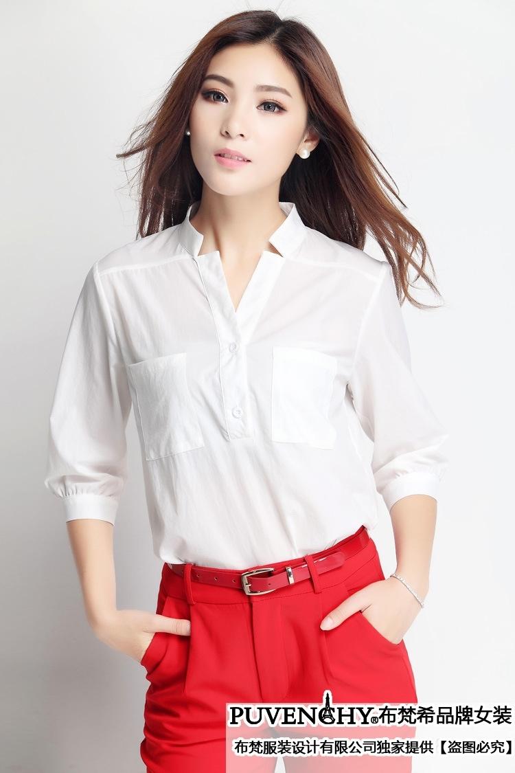 女式中袖衬衫_布梵希2014夏装两件套 韩版新款女装九分裤 中袖女式衬衣休闲套装
