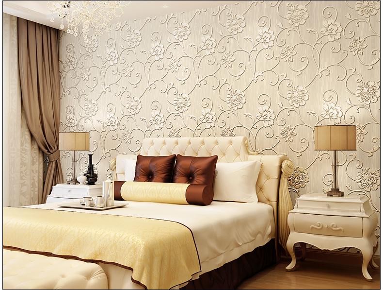 洛可可壁纸现代简约风格客厅3d立体无纺布卧室温馨墙纸704青色