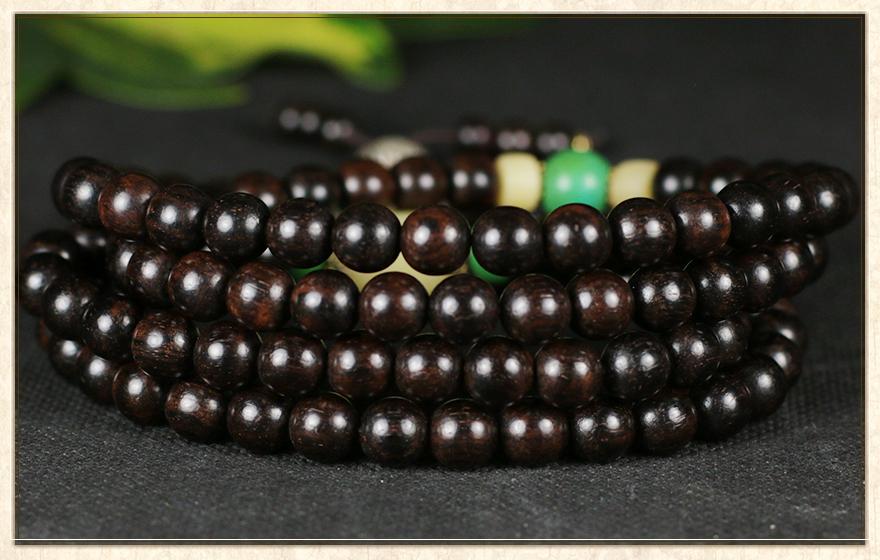 p】黑檀木佛珠手串 搭配绿松石,尼泊尔彩珠,琉璃,藏银