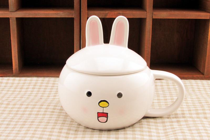 韩版小熊对杯 可爱动物小白兔小熊情侣对杯/套杯 卡通情侣杯子 201