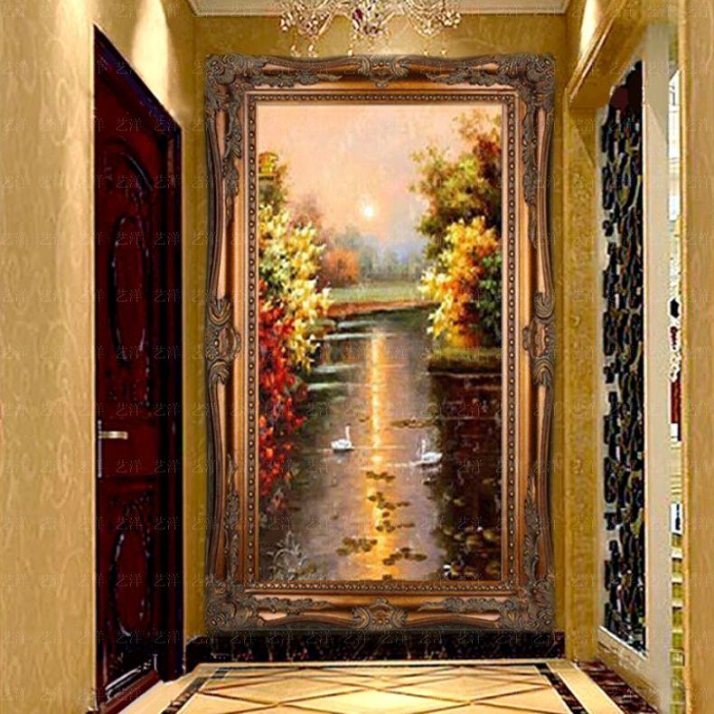 油画手绘欧式风景挂画客厅壁画竖版现代过道 934166832金 带框120x240