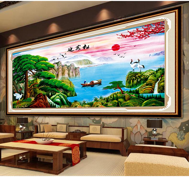 蒙娜麗莎5d鉆石畫十字繡貼鉆石繡秀迎客松風景山水畫滿鉆新款客廳 z